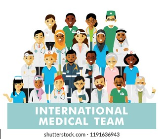 Set of doctors. International medic team. Group of doctors, nurses, medical staff. Medical consultation and diagnosis