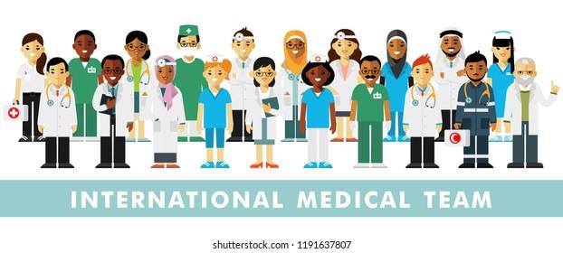 Set of doctors. International medic team. Group of doctors, nurses, medical staff. Medical consultation and diagnosis