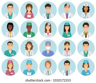 Set of doctors and nurses avatars in uniform in circle frames. Collection of medicine employee faces in circles. Medical men and women portfolio avatars. Vector illustration.
