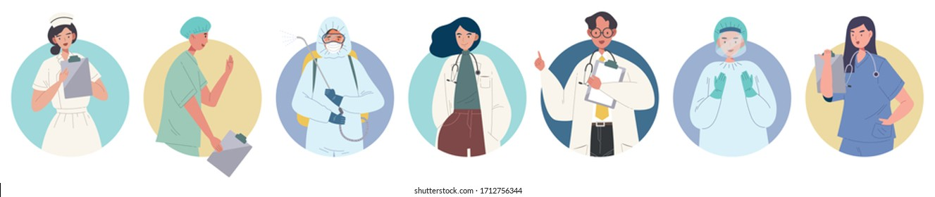 Set of doctors, nurses and paramedics avatar, flat style vector illustration of medical staff. Concept of hospital craw avatar, group of medical care. Representative of medical people.