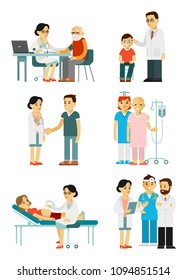 Set of doctors and patients in different situation. Medical staff and illness people in hospital. Consultation, medical diagnosis and treatment. Vector illustration in flat style isolated