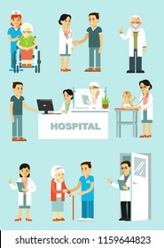 Set of doctors and patients in different situation. Medical staff and illness people in hospital. Consultation, medical diagnosis and treatment. Vector illustration