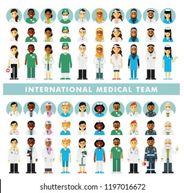 Set of doctors people and avatars. International medic team. Group of doctors, nurses, medical staff. Medical consultation and diagnosis