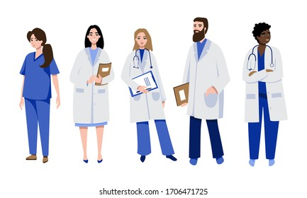 Set of doctors and surgeon characters. Medical team concept. Vector illustration