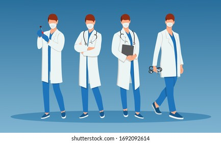 Set of doctors with various poses.