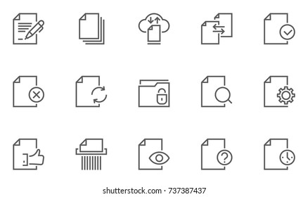 Set of Document Flow Management Vector Line Icons. 48x48 Pixel Perfect.