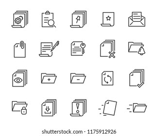 set of document icons, such as paper, mark, note, check, find