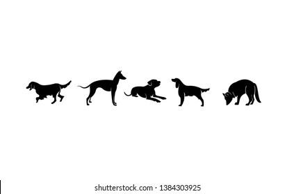 set DOG black logo icon designs vector illustration sign silhouette