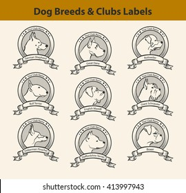 Set of Dog Breeds Labels, Dog Clubs Emblems. Profile Silhouette Dog Faces
