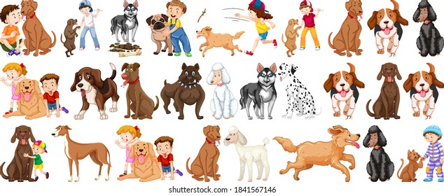 Set of dog cartoon character illustration