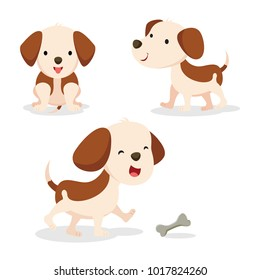 Set of dog in different pose. Vector illustration.