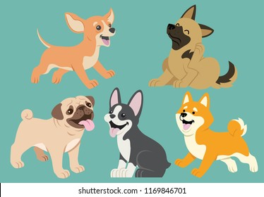 set of dog flat cartoon