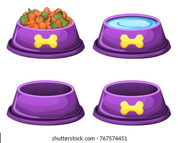 Set of dog food bowls(dry food,water,empty)