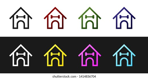 Set Dog house and bone icon isolated on black and white background. Dog kennel. Vector Illustration