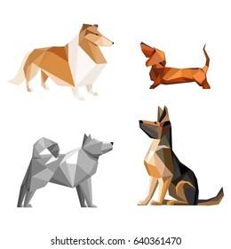 Set of dog isolated on white background. Vector Illustration