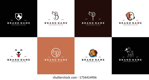 set dog logo design vector template