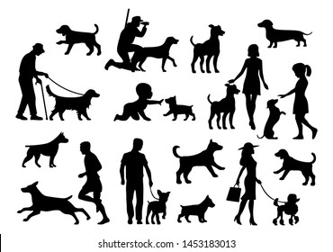 Set dog and people silhouette. Vector black flat icon isolated on white background.
