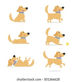 Set Of Dog Poses Vector Illustration