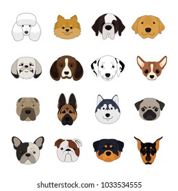 Set of Dog and Puppy Cartoon Face Isolated Vector