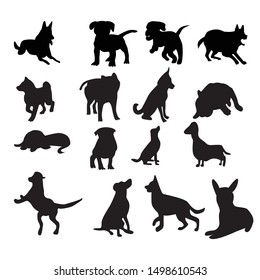 Set of dog Silhouette collection vector illustration with many style from running,sitting,standing and the other. dog isolated on white background