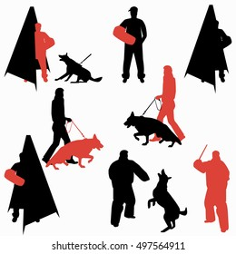 Set of dog sport silhouettes. Dog on leash during training. Dog trainer with bite sleeve. Jumping dog. Trainer behind the mini blind.