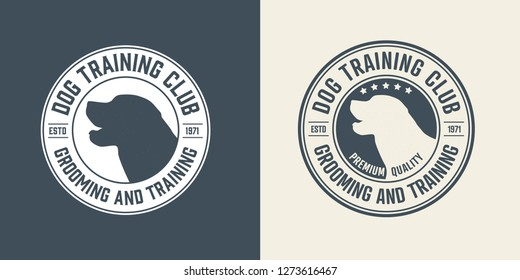 Set of Dog training center badge templates. Design elements for logo, label, icon. Vector illustration