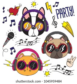 Set of dogs and cats wearing headphones listening to music. Vector illustration.