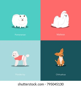 Set of dogs of different breeds vector illustration