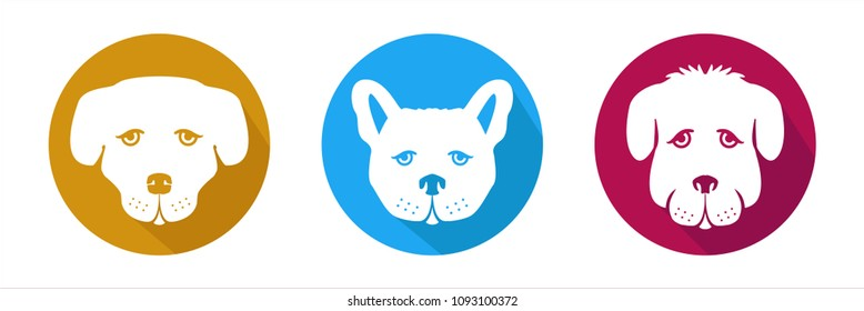 Set of  dogs flat art in circles
