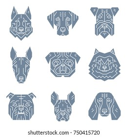 Set of dog's heads.Simple geometric style. Vector illustration include pictures of german shepherd, labrador, terrier, bull terrier, pug, spitz, english bulldog, french bulldog, beagle. Dog faces.
