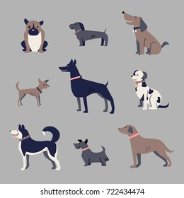 set of dogs, icons, funny vector illustration