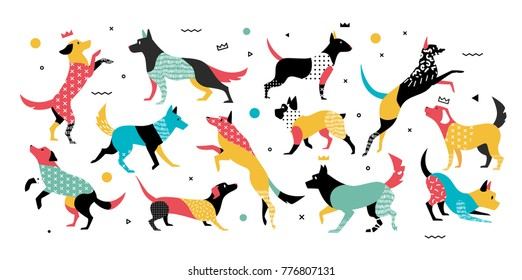 Set of dogs in pop art style. Dogs with geometric elements in style 90-x years, they can be used in the leaflet, banners, ads. The symbol of the dog in 2018.