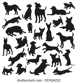 Set of dogs silhouette. Collection of 25 vector silhouette. Beautiful vector design.