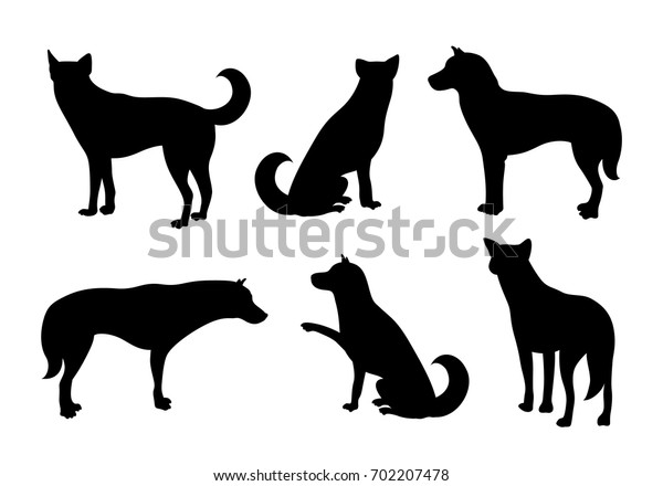 Set of dogs silhouette. Vector illustration isolated on white background. Dog icons collection for  pet clinic and pet shop.