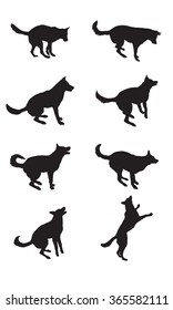 Set of dogs silhouettes. Vector illustration
