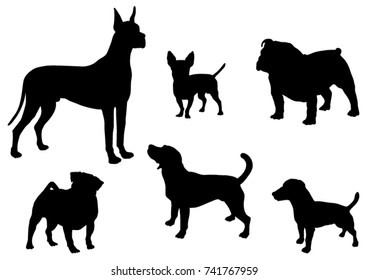 Set of Dogs  Silhouettes - Vector Illustration