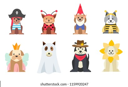 Set of dogs wearing Halloween costumes, vector illustration.