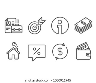 Set of Dollar, Discount message and Usd exchange icons. Target, Vacancy and Debit card signs. Usd currency, Special offer, Currency rate. Targeting, Hiring job, Wallet with credit card. Vector