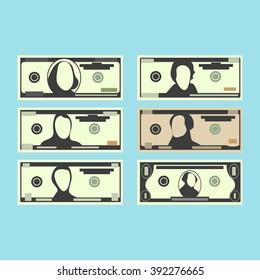 Set of dollars banknotes. Cartoon design