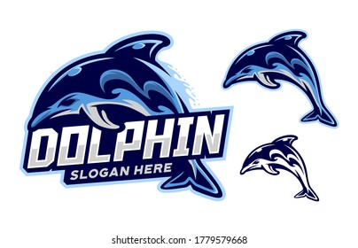 set of dolphin logo mascot vector illustration