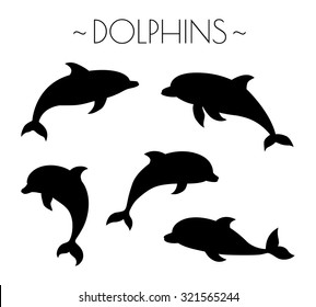 Set of dolphin silhouettes. Vector illustration.