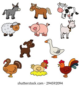 Set of domestic animals - vector