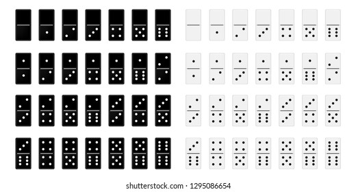 Set of Dominoes or domino tiles black and white vector isolated 3D realistic mockups for game on white background.Abstract concept 28 pieces for game graphic element.