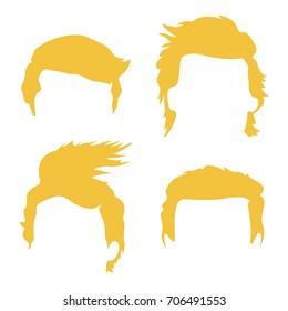 Set of Donald Trump Hair Styles. Vector Illustration. Trump's Hair Templates, Silhouette, Face Editorial, Face Filler
