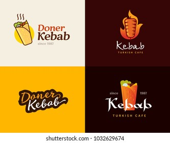 Set of doner kebab logo templates. Vector creative labels for Turkish and Arabian fast food restaurant.