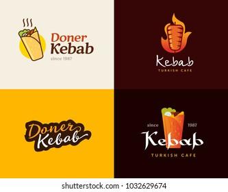 Set of doner kebab logo templates. Vector creative labels for Turkish and Arabian fast food restaurant.