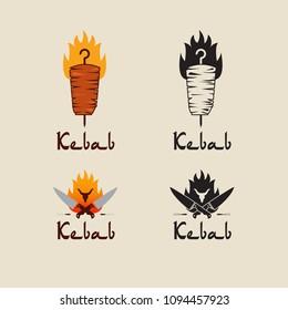 Set of doner kebab logo templates. Vector creative labels for Turkish and Arabian fast food restaurant