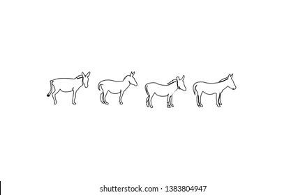 set donkey black outline with black background logo icon designs vector illustration sign silhouette