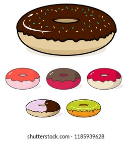 Set of Donuts with different topping. Sweet food.