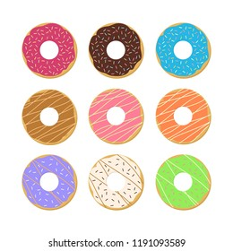 Set of donuts isolated on white background, Sweet donuts collection - Vector